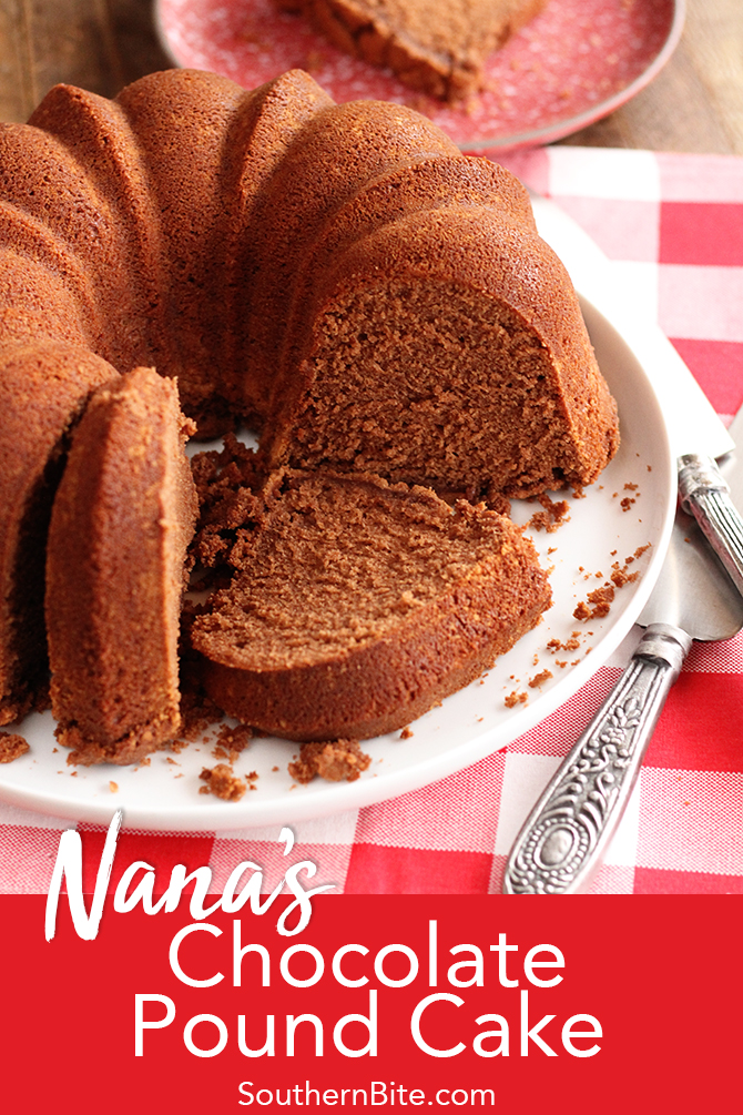 My grandmother knew what she was doing with this Chocolate Pound Cake recipe. Soft and tender with a perfectly crunchy crust, it's a classic recipe that isn't too chocolatey.