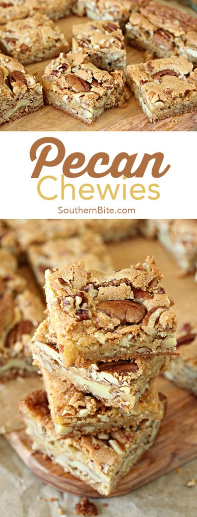 Pecan Chewies are the perfect recipe that's a combination of caramel-y blondies and pecans! They're a family favorites and are absolutely AMAZING!