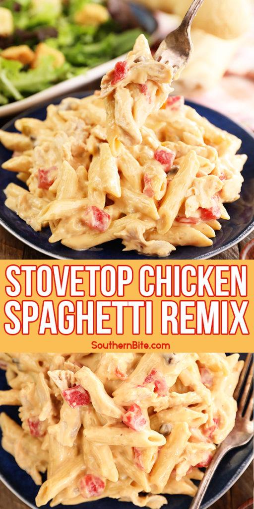 Easy Stovetop Chicken Spaghetti - image for Pinterest