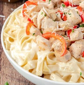 Chicken Fettuccine Alfredo in a bowl
