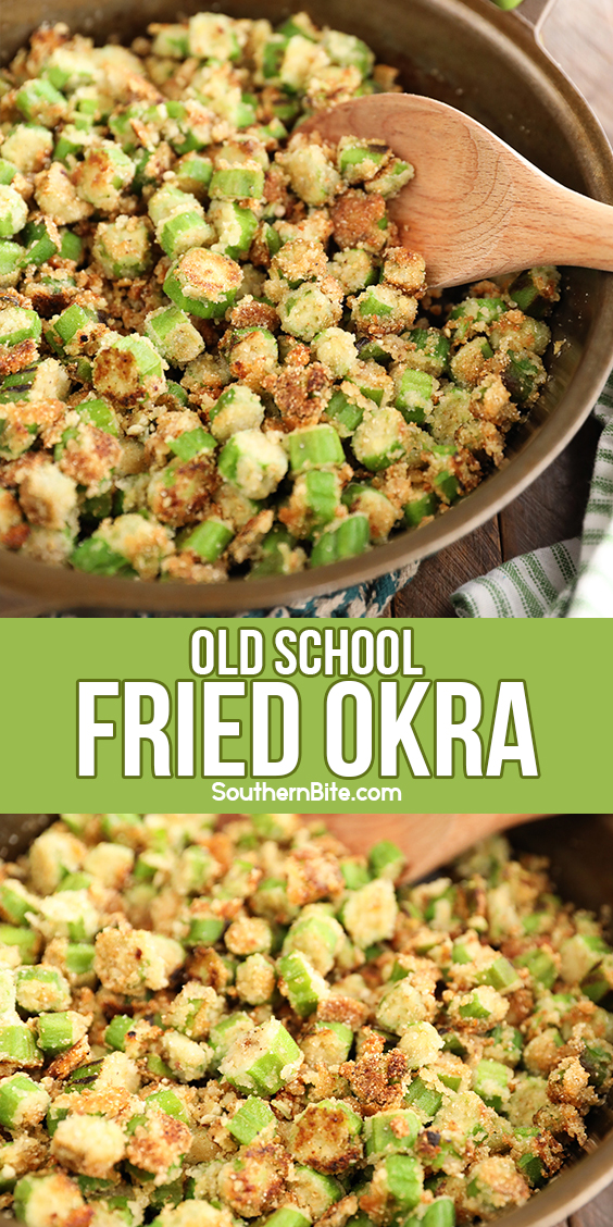 Fried okra in a cast iron skillet - image for Pinterest