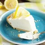 Slice of Lemonade Pie being eaten with fork