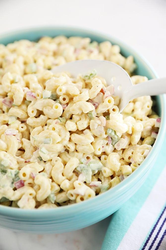 Scoop of Classic Macaroni Salad