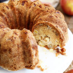 Apple Nut Cake with slice missing