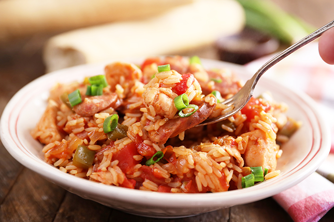 This recipe for Weeknight Chicken and Sausage Jambalaya is super easy, flavorful, and the whole things is done in about 45 minutes! It's one of my favorite one-pot dishes!
