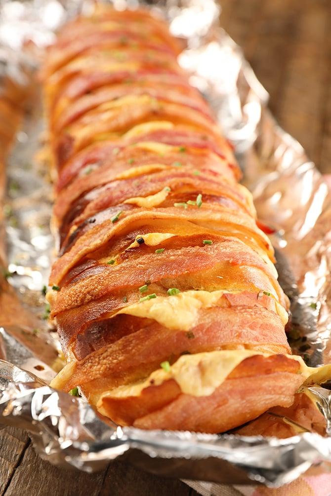 Cheesy Swiss Bacon Bread on aluminum foil