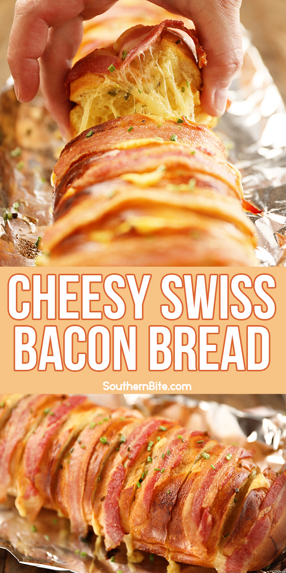 Cheesy Swiss Bacon Bread - Image for Pinterest