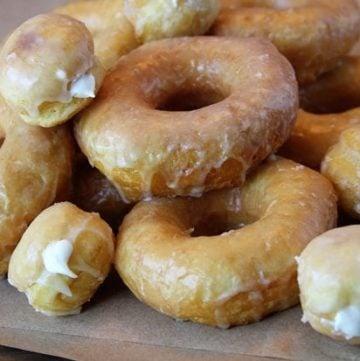 Easy Glazed Doughnuts and Cream-Filled Doughnut Holes