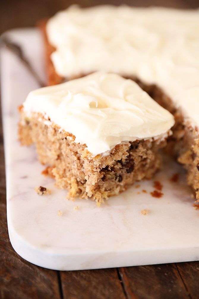 Piece of Hummingbird Sheet Cake