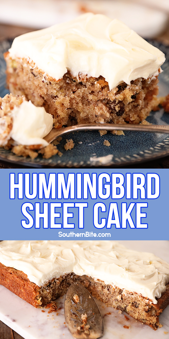 Hummingbird Sheet Cake - collage image for Pinterest