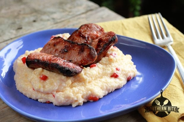 Grilled Sausage with Pimiento Cheese Grits