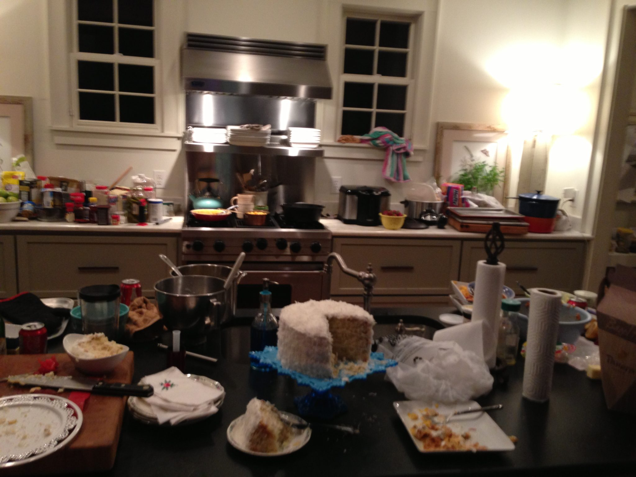 This what poor Kim's kitchen looked like a 14 recipe day!  What a mess!  Maybe I should say, poor Annelore!