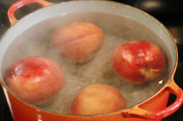 peaches in pot