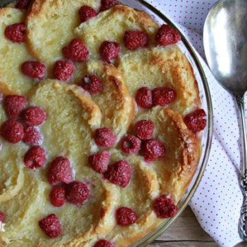 White Chocolate Raspberry Biscuit Bread Pudding – Celebrating National Biscuit Month {Giveaway!}