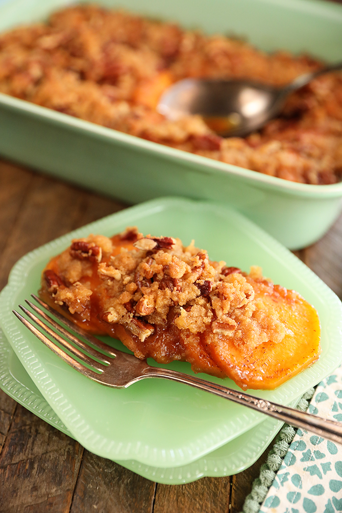 Individual serving of Candied Sweet Potatoes with Brown Sugar and Pecans