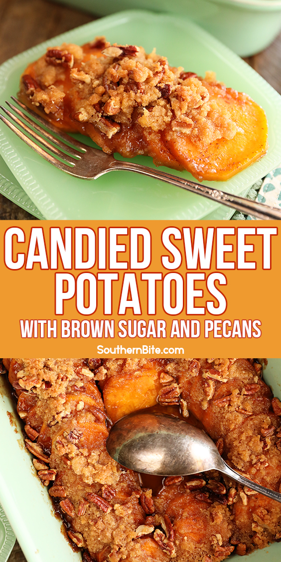 Candied Sweet Potatoes with Brown Sugar and Pecans - image for Pinterest