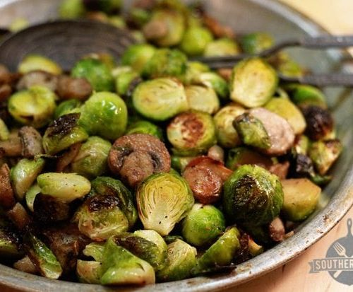 Roasted Brussels Sprouts with Mushrooms - Southern Bite