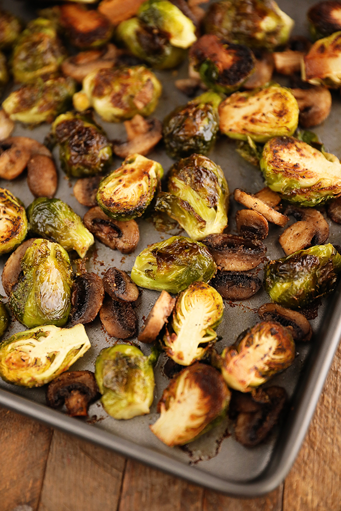 Roasted Brussels Sprouts with Mushrooms on a sheet pan