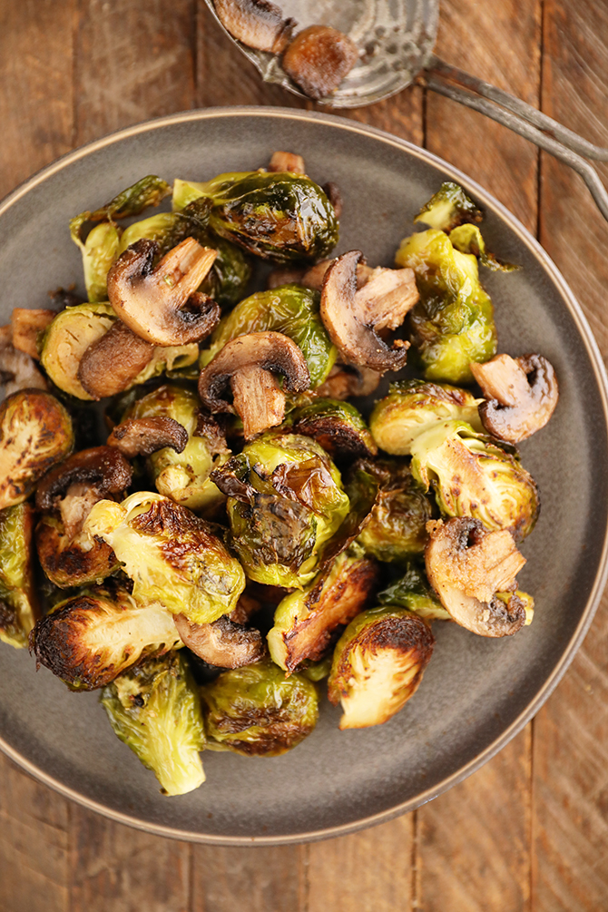 Roasted Brussels Sprouts with Mushrooms on a plate
