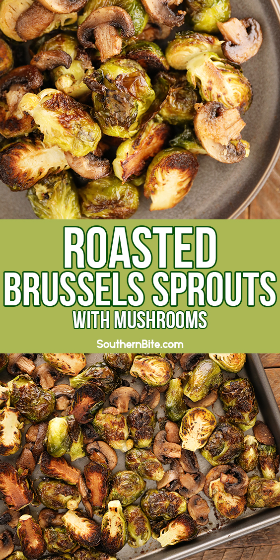 Roasted Brussels Sprouts with Mushrooms image for Pinterest