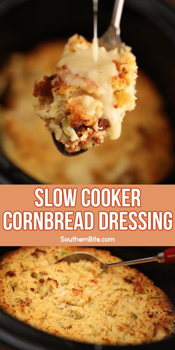 Slow Cooker Cornbread Dressing - image for Pinterest