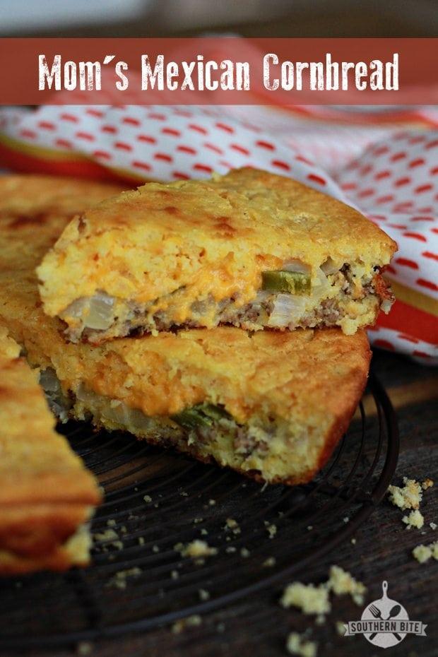 Slice of Mom's Mexican Cornbread