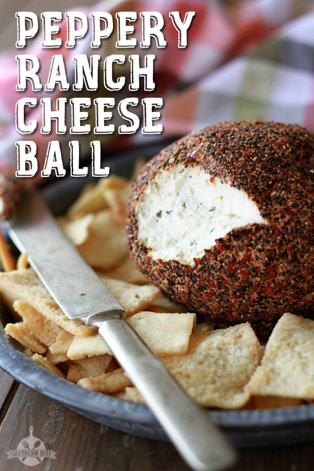 Peppery Ranch Cheeseball with pita chips