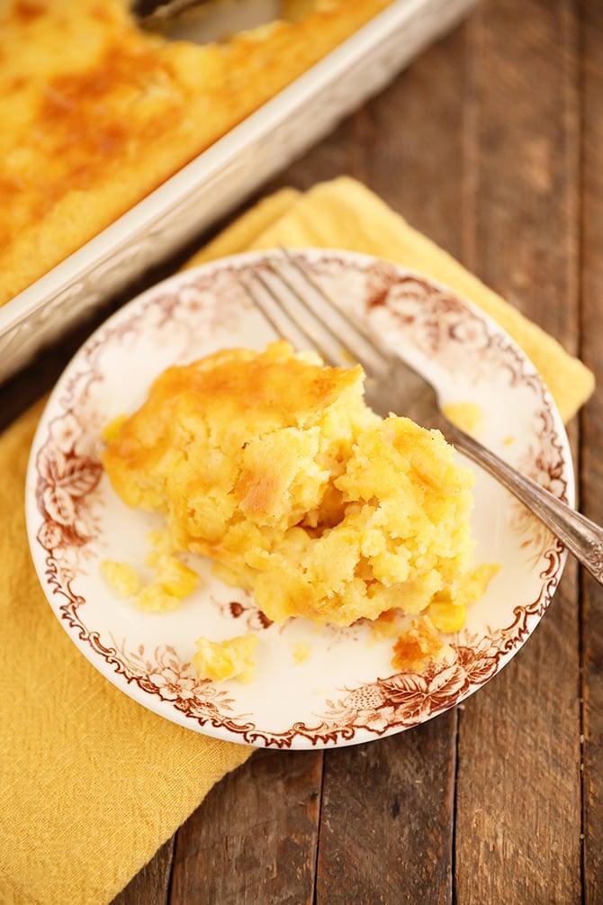 Serving of Sweet Corn Spoon Bread on plate