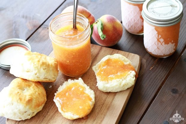 Peach freezer jam sure jell for Peach preserves no pectin