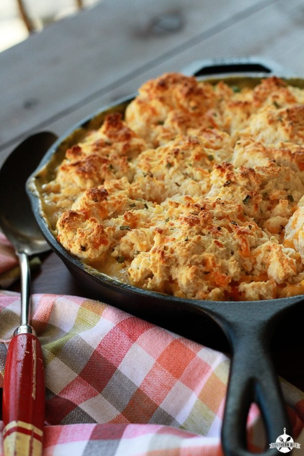 Cheesy Biscuit Topped Chicken Pot Pie