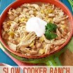 Slow Cooker Ranch White Chicken Chili in a Bowl