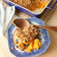 Sweet Potato Casserole with Pecan Praline Topping