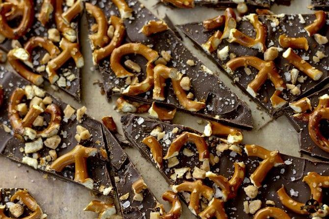 Salted Dark Chocolate Pretzel Bark