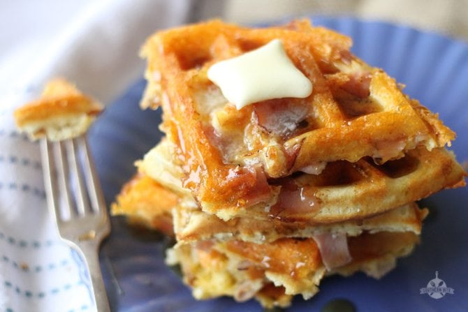 Ham and Cheese Waffles - Southern Bite