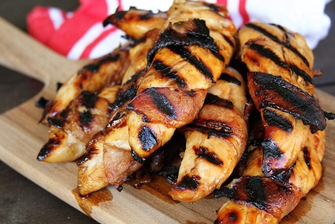 Bacon-Wrapped Teriyaki Grilled Chicken Tenders - Southern Bite