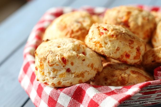 Basket with Pimento Cheese Biscuits