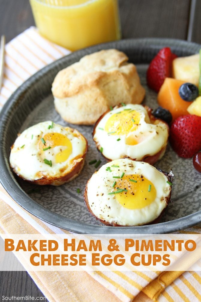 These Baked Ham and Pimento Cheese Egg Cups are a favorite with my family! They're easy enough for a busy weekday breakfast, but look fancy enough for company!