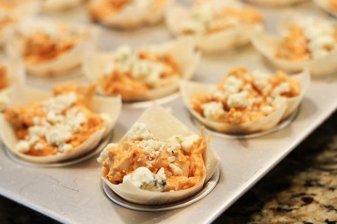 These Buffalo Chicken Cups are an easy way to dress up the classic dip!