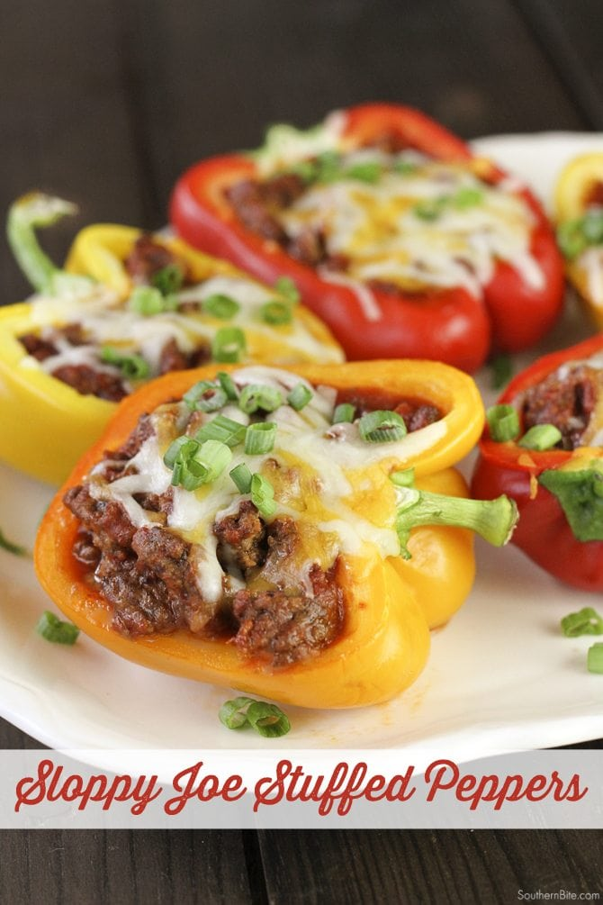 Two easy weeknight meals collide with this Sloppy Joe Stuffed Pepper recipe!  All the great flavor of the classic sandwich in a stuffed pepper!