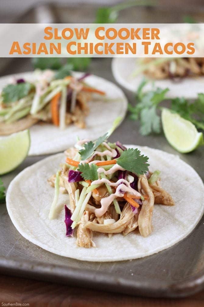 These Slow Cooker Asian Tacos seriously couldn't be much easier! And that slaw on top... yum!