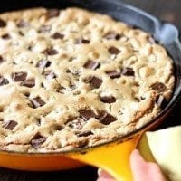Triple Chocolate Chunk Skillet Cookie