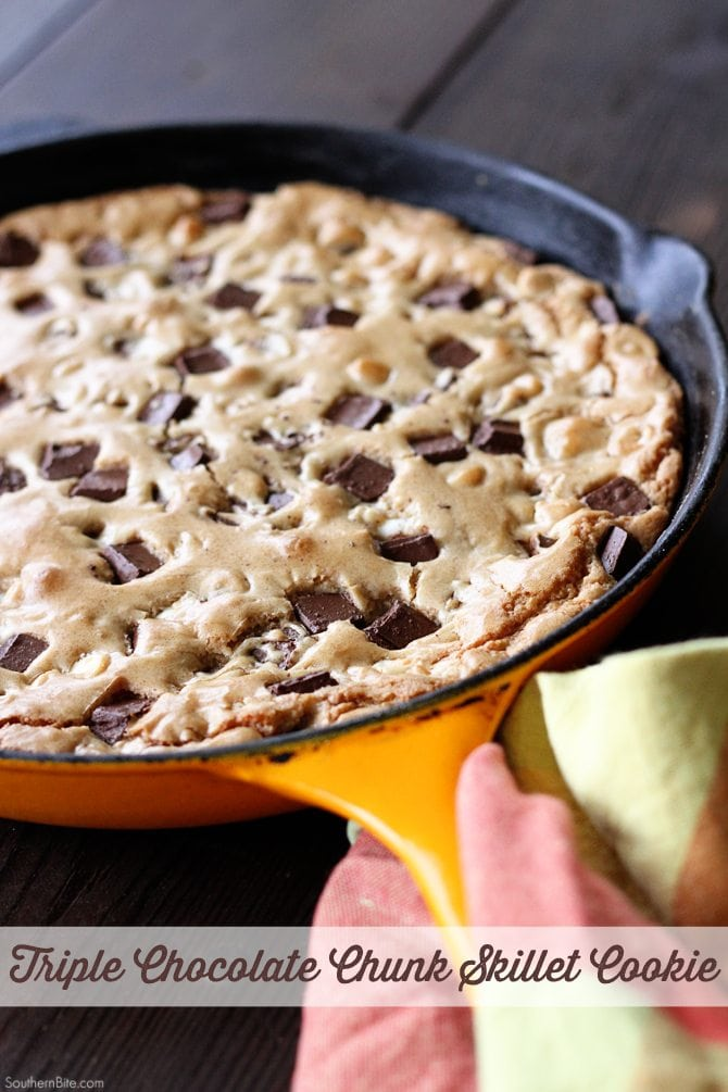 This Triple Chocolate Chunk Skillet Cookie recipe has you mixing and baking all in one pan!