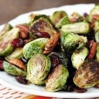Roasted Brussels Sprouts with Cranberries and Pecans - easy recipe that's perfect for Thanksgiving!