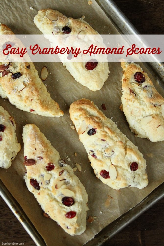 This easy recipe for Cranberry almond Scones will have a delicious and easy breakfast on teh table in about 30 minutes!