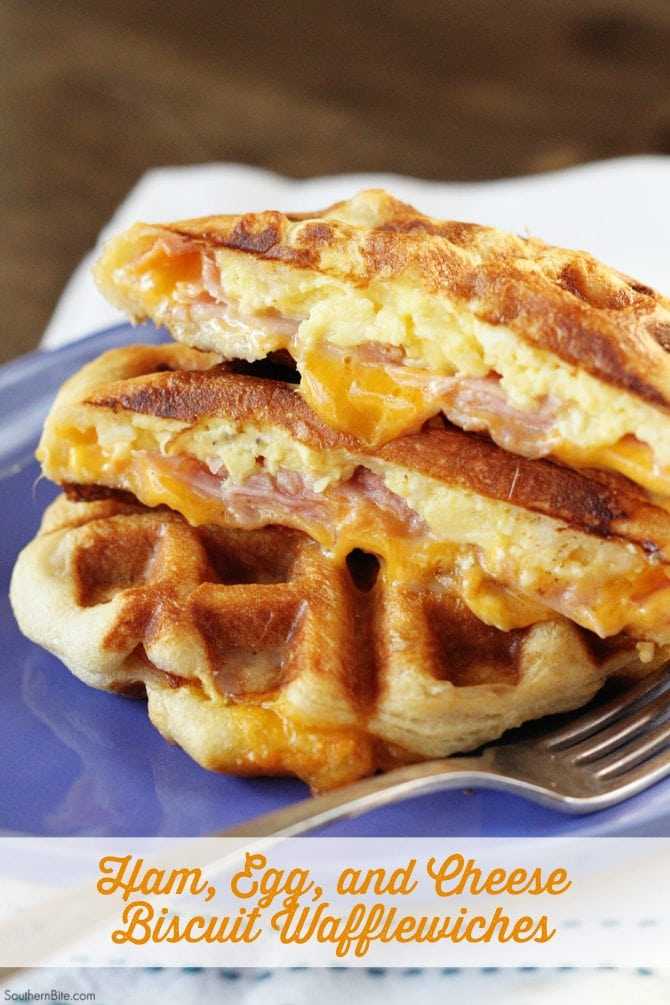 Ham, Egg, and Cheese Biscuit Wafflewiches are a fun and easy breakfast that's full of flavor!