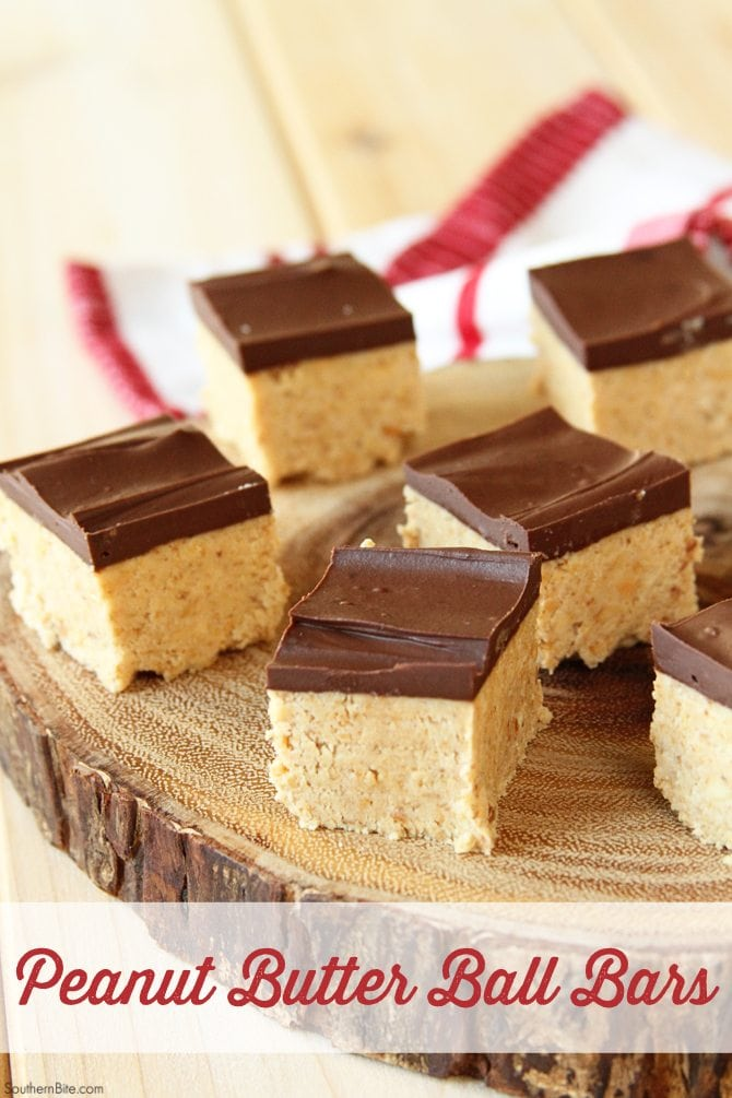 These Peanut Butter Ball Bars have all the great flavor of the classic recipe but with a LOT less work! They're the perfect holiday treat!