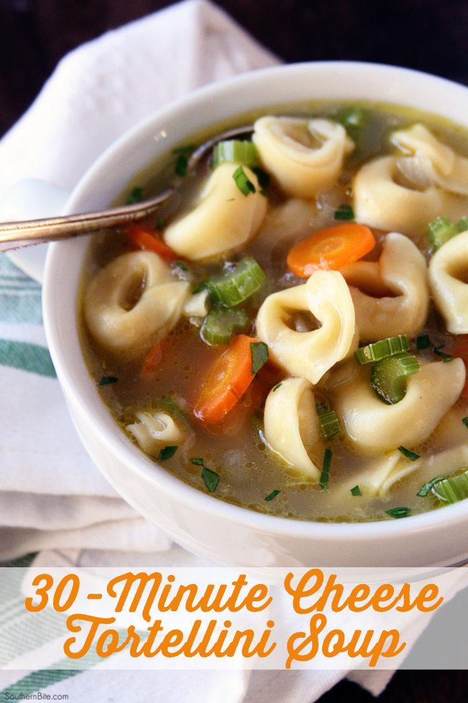 This hearty and delicious Cheese Tortellini Soup is on the table in about 30 minutes!