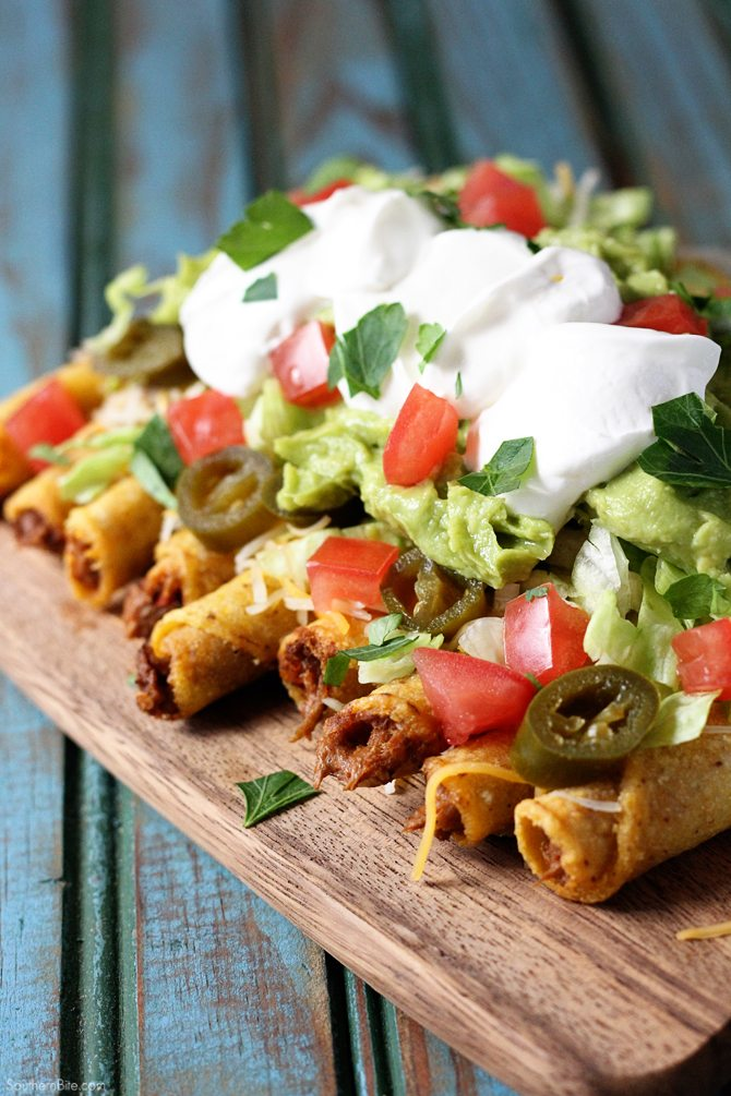 These Loaded Beef Taquitos are a fun take on nachos and are perfect for game day or any day!