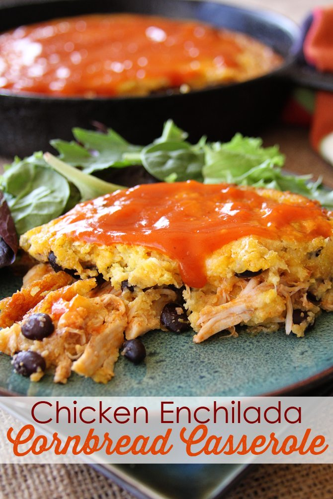 This Chicken Enchilada Cornbread Casserole will be a instant family favorite! It's a great one-pan recipe the whole family will love!