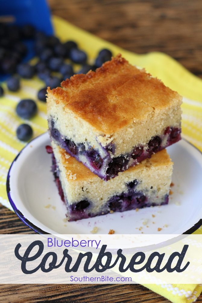 This Blueberry Cornbread has the perfect amount of sweetness and is perfect for breakfast, a snack, or dessert! Plus it's so easy!